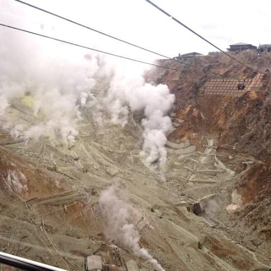 箱根ロープウェーから見た大涌谷の絶景