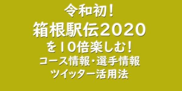 箱根駅伝2020を10倍楽しむ!コース情報・選手情報・ツイッター活用法