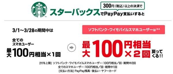 超PayPay祭 スターバックスでPayPay(ペイペイ)支払いしておトク! 超PayPay祭 ちょうペイペイまつり PayPay(ペイペイ)新規利用で最大50%還元+最大1000円相当もらえる! ペイペイとは PayPay ペイペイ ぺいぺい PayPay店舗 ペイペイ店舗キャッシュレス アップルペイ  ペイペイとは何? アリペイ スマホ決済サービス QR決済 バーコード決済 ペイペイ アプリ ペイペイ 評判 ペイペイ 加盟店 ペイペイ 使える店 ペイペイ スタバ ペイペイ セブン ペイペイ セブンイレブン PayPay スタバ PayPay セブン PayPay セブンイレブン